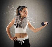 Sweat and toil at gym Stock Photos
