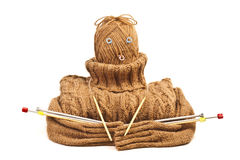 Sweater as a doll. The warm sweater of handwork is combined in the form of a doll Royalty Free Stock Photo