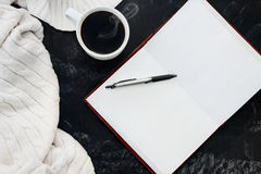 Sweater Coffee and Open Book Stock Images
