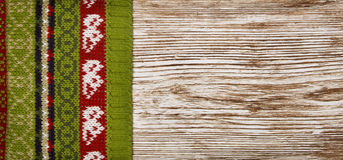 Sweater Decoration Wood Background, Wool Fabric Ornament Stock Photography
