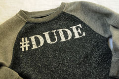 Sweater # dude. Sweater with # dude on it Stock Photography