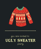 Sweater invitation. Vector template of a Christmas card, illustration of a sweater and text on a dark background Royalty Free Stock Photography