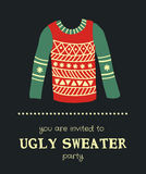 Sweater invitation 3. Vector template of a Christmas greeting card, a sweater on a dark background Royalty Free Stock Photos