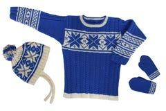 Sweater met hoed en vuisthandschoenen Stock Foto's