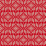 Sweater Ornament Imitation. Abstract seamless knitted pattern repeatable background for holidays papers. Scandinavian motif Stock Image