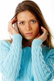 Sweater portrait. Marina looks lovely wearing a light blue sweater Royalty Free Stock Photos