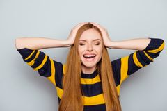 Sweater pullover head holding wonderment concept. Close up portr. Ait of charming excited cute lovely beautiful modern style trendy stylish having fun fooling Stock Image
