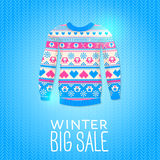 Sweater. Sale Winter Illustration. May be used for winter design Stock Photos