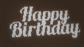 Sweater texture animation, Happy Birthday greting card. stock video
