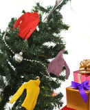 Sweater on a tree and boxes with gifts Royalty Free Stock Image