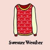 Sweater weather. Cartoon vector illustration. Doodle style Stock Photo