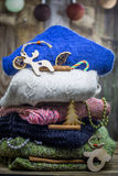 Sweater and wooden Christmas toys Royalty Free Stock Photo