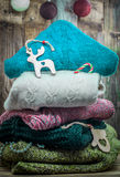 Sweater and wooden Christmas toys Stock Photos