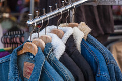 Sweaters on hangers Royalty Free Stock Photography