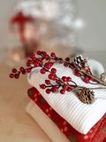 Sweaters plaid branch with red berries on wooden table. Winter concept. royalty free stock photos