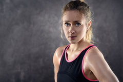 Sweating Athletic Blond Woman Wearing Tank Top Royalty Free Stock Photo