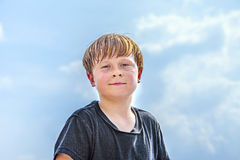 Sweating boy after sport looks confident Royalty Free Stock Image