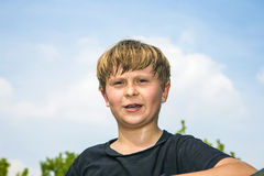 Sweating boy after sports Royalty Free Stock Photos