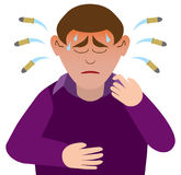 Sweating Bullets. Man having anxiety attack is sweating bullets vector illustration