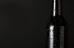 Sweating, cold bottle of beer closeup on black background. With place for your text. Dark beer on black background Royalty Free Stock Photography