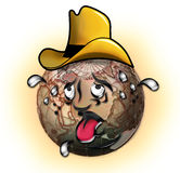 Sweating cowboy globe Royalty Free Stock Image