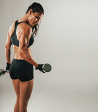 Sweating female athlete lifting dumbbell Stock Images