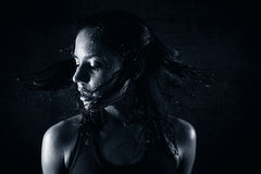 Sweating girl. After workout shake her head Royalty Free Stock Photography