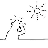 Sweating man in hot weather. Man beneath a hot sun sweating profusely Stock Photo