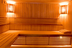 Sweating room in sauna. Wooden sweating room with bench stock image