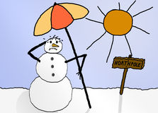 Sweating snowman. Sweating, unhappy looking snowman carrying parasol Royalty Free Stock Photo
