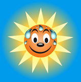 Sweating summer sun. Cartoon character Stock Image