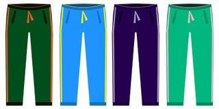 Sweatpants集合的类型 sprt裤子简单的象  绿色,红色,蓝色,在白色背景隔绝的紫色 平的设计 库存图片