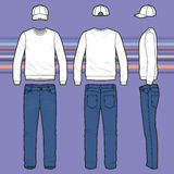 Sweatshirt, cap and jeans set Royalty Free Stock Images