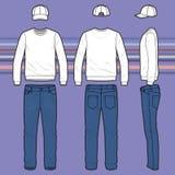 Sweatshirt, Kappe und Jeans eingestellt lizenzfreie abbildung