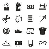 Sweatshop Factory Icons Stock Image