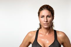 Sweaty attractive athletic young woman Royalty Free Stock Image