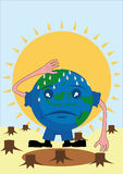 Sweaty earth. Earth is sweating under the hot sun since no more trees protecting her Royalty Free Stock Photography