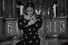 Free Sweaty, Hot Spanish Woman Dances Flamenco With Great Passion Royalty Free Stock Photo - 124431255
