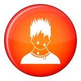 Sweaty man icon, flat style Royalty Free Stock Photo