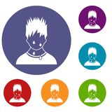 Sweaty man icons set Royalty Free Stock Images