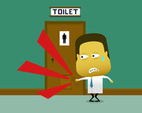 A sweaty man knocked on the toilet door in which there is a person inside Stock Photography