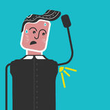 Sweaty man. sweaty armpits and bad smell. Funny flat vector style. Funny man with sweaty armpit Stock Illustration