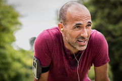 Sweaty mature jogger. Portrait of athletic mature man after run. Handsome senior man resting after jog at the park on a sunny day. Sweaty multiethnic man stock photography