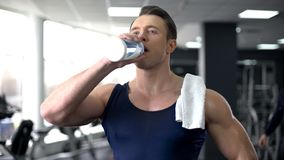 Sweaty sportsman drinking water after workout, healthy nutrition, aqua balance royalty free stock photography