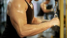 Sweaty sportsman working out in gym by doing pull-downs, upper body close-up. Stock footage stock video