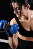 Sweaty workout. Prtty girl sweating while working out royalty free stock image