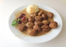 Sweddish meatballs with mash potato and parsley from Ikea Stock Photo