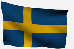 Sweden 3d flag. Isolated on white background Royalty Free Stock Photos