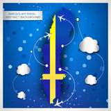Sweden air travel abstract background Royalty Free Stock Images
