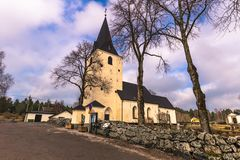 Sweden - April 1, 2017: Lone church in rural Sweden Royalty Free Stock Photo